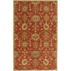 Bring a touch of bold style to your floors with this eye-catching rug, showcasing a floral trellis print on a red background.Product:...