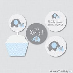 Elephant Baby Shower Cupcake Toppers and Cupcake Wrappers Printable It's a Boy AND Girl - Instant Printable Download - Blue Elephant 0024-B by ShowerThatBaby on Etsy https://www.etsy.com/listing/211158168/elephant-baby-shower-cupcake-toppers-and