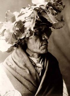 Here we present a rare image of Porcupine. It was taken in 1910 by Edward S. Curtis.    The image shows Porcupine, a Cheyenne man, head-and-shoulders portrait, facing right, wearing a wreath of cottonwood leaves on his head, possibly to protect his head from the sun during a Sun Dance.    We have created this collection of images primarily to serve as an easy to access educational tool. Contact curator@old-picture.com.