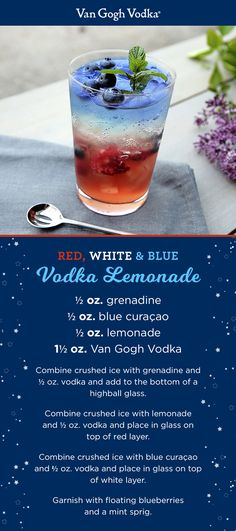 Cheer on the red, white and blue with a Red, White and Blue Vodka Lemonade fit…