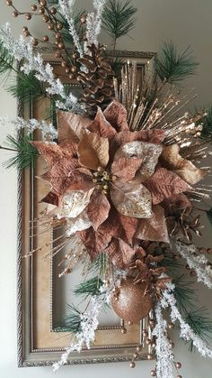 I love decorating for the holidays. Picture frame wreath by marlas. Christmas Flower Decorations, Christmas Floral Arrangements, Christmas Tree Crafts, Christmas Swags, Christmas Frames, Christmas Tablescapes, Elegant Christmas, Christmas Colors, Christmas Projects