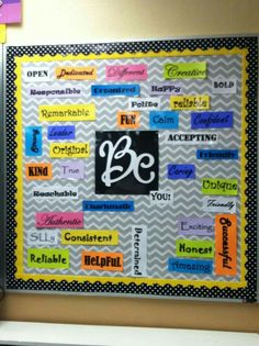 "Task 2: Understanding Motivation- This bulliten board can be used to intrinsically motivate students to be better people. The class can review it daily and each student can pick what they want to ""be"" that day."
