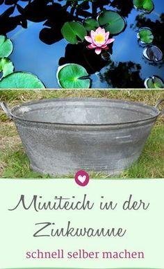So leicht gestaltest du einen Miniteich für deinen Garten aus einer Zinkwanne. #garten #diy #miniteich