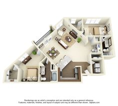 Plymouth Floor Plan: 2 bd / 2 ba - 1296 Sq. Ft.