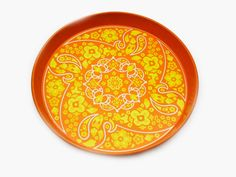 Vintage Orange and Yellow Tin Tray Ian Logan by AntiquesfromAmy