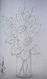 New Embroidery Sunflower Pattern Coloring Pages Ideas Tole Painting, Fabric Painting, Painting & Drawing, Watercolor Paintings, Drawing Drawing, Pencil Art Drawings, Easy Drawings, Drawing Sketches, Sketching