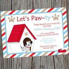 Puppy Dog Birthday Party Invitation. Printable Puppy themed Party Invite. Digital Puppy Party Invite. www.cohenlane.etsy.com cohenlane