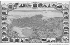 Historical Atlas of California. Oakland, 1900.  Looking west over Lake Merritt.