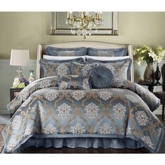 Chic Home 9 Piece Aubrey Decorator Upholstery Quality Jacquard Scroll Fabric Bedroom Comforter Set & Pillows Ensemble, Queen, Beige Bedroom Comforter Sets, King Size Bedding Sets, Queen Comforter Sets, Gold Bedding Sets, Bed In A Bag, Bed Sets, Textiles, Luxury Bedding, Glam Bedding