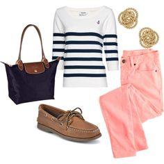 Nautical spring outfit...best time to whip out the nautical theme! Minus the shoes (would choose flats instead)