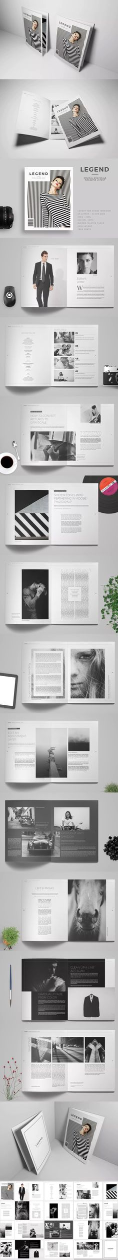 L E G E N D - Minimal Magazine Template InDesign INDD A4 and US Letter Size