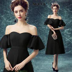 Fashion Black Silk Chiffon Sexy off shoulder Evening dress