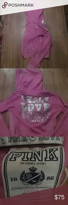 💟For Jessica💟 VS PINK Bling Hoodie💟 Tons of BLING!! Gorgeous bubblegum pink color! Size large, but would fit a medium well. It runs small. TV $100 PINK Victoria's Secret Tops Sweatshirts & Hoodies