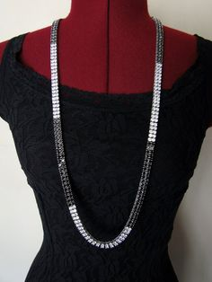 Art Deco Rhinestones Necklace and Earrings by tintiara on Etsy, $70.00