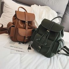 2018 Women Backpack Vintage Backpacks Teen Girls Fashion Travel Famous Brand High Quality Leather Rucksack String Mochila Outfit Accessories From Touchy Style Retro Backpack, Backpack For Teens, Backpack Brands, Vintage Backpacks, Stylish Backpacks, Cute Backpacks, Teenager Fashion Trends, Teen Girl Fashion, Backpack Outfit