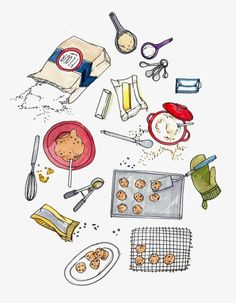 Cute illustration for kitchen. baking cookies print by pockettiger on etsy food drawing, cute Recipe Drawing, Food Drawing, Baking Tools, Kitchen Art, Food Illustrations, Cute Illustration, Food Art, Doodles, Sketches