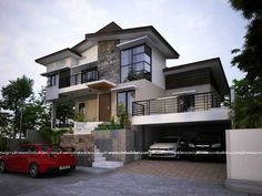 This 2 story house with straight lines and natural colors of beige. With brick chimney and black roof. Zen House Design, 2 Storey House Design, Two Storey House, Dream Home Design, Dream House Exterior, Exterior House Colors, Exterior Design, Modern Zen House, Modern Houses