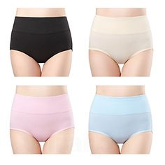 wirarpa Womens Cotton Underwear 4 Pack High Waist Briefs Tummy Control Ladies Comfort Stretch Panties Underpants Size S Best Underwear, Plus Size Underwear, Cotton Underwear, Ladies Underwear, Women's Briefs, Briefs Underwear, Jolie Lingerie, Women Lingerie, Girly