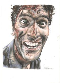 Ash / Bruce Campbell Drawing from Evil Dead. Full by MelHansonArt, £20.00