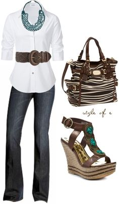 """Brown and Teal Casual"" by styleofe on Polyvore"