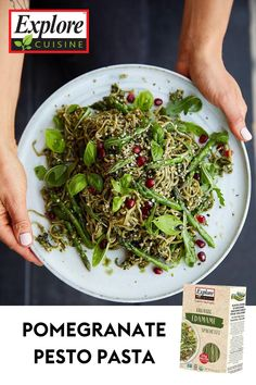 Put a twist on your traditional pesto recipe with this Pomegranate Pesto Pasta recipe. It uses plant-based edamame spaghetti for a nutritious and filling vegan meal! #veganpasta #easypastarecipes #pestopasta Pesto Pasta Recipes, Pesto Recipe, Vegan Pasta, Organic Recipes, Vegan Recipes, Ethnic Recipes, Vegan Dishes, Tasty Dishes, Edamame Spaghetti