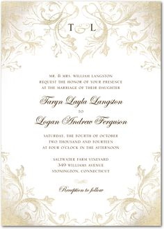 Faded Scroll:Dijon wedding paper divas  thought this was very elegant