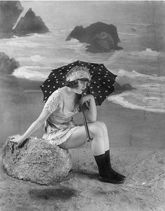 Ironing Board Collective: Beat the Heat: A Special Request Under My Umbrella, Beach Umbrella, Beach Frame, Umbrellas Parasols, Vintage Nautical, Beat The Heat, Vintage Girls, Back In The Day, Fashion History