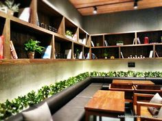 A Poised Quill Current Coffee Shop Craze in Town Caffee Bene with Indoor Green Plant Decoration, Furniture & Interior, 640x480 pixels