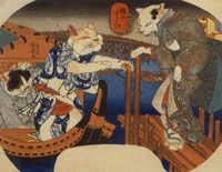Kuniyoshi was considered unique in his mastery of action-packed images drawn from history, religion, folklore, and myths of Japan, China, and other Asian countries; he also experimented with European techniques of visual representation, such as linear perspective, as well as exotic foreign subject-matter. He was also known for his comical pictures of animals impersonating humans,