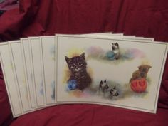 Vintage Bright Line Lil' Kittens 2-Sided Plastic Placemats (Set of 6) Watercolours by Giordano