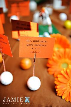 Golf themed escort cards for a sports themed Bar Mitzvah {Photo by Jamie K Photography} wedding place cards, sports wedding place cards #wedding #weddings