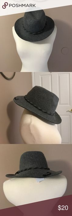 """Felt Wide Brim Heather Gray Fedora Heather gray fedora with a 3"""" brim . Twisted gray felt wraps around the brim with a tie at one side . NWT.  One size fits most . D&Y Accessories Hats"""