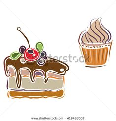 Sweet desserts set. Piece of cake with cherry, blueberry and blackberry and cupcake. Hand drawn isolated illustration.  - stock vector