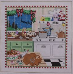 Once in a Blue Moon by Sandra Gilmore Christmas Kitchen HP Needlepoint Canvas #OnceinaBlueMoonbySandraGilmore