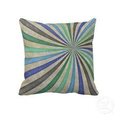 Groovy Retro Spiral Sunbeam Ray Swirl Blue Green Brown Masculine Throw Pillow