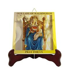Blessed Virgin Mary of Walsingham - religious wall plaque - religious icon on tile - religious art - Our Lady of Walsingham religious plaque