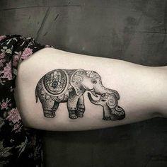 Cute elephant family tattoo