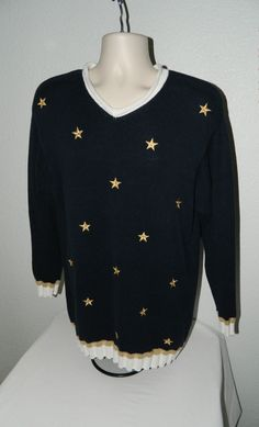 Liz Co Claiborne Chunky Sweater Embroidered Stars  Blue Gold  V Neck Cable knit #LizCo #Sweater #Everyday