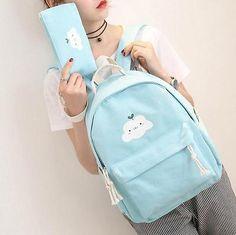 Kawaii cloud pastel backpack and pencil bag set Stylish Backpacks, Cute Backpacks, Girl Backpacks, School Backpacks, Pastel Backpack, Canvas Backpack, Backpack Bags, Leather Backpack, Fashion Bags