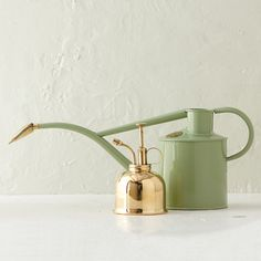 An elegant gift for the gardener, this set includes a brass mister for delicate plants and a metal watering can with a detachable, brass rose.