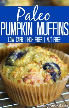 Paleo Pumpkin Muffins with Blueberries
