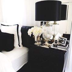 Would love a classy black and white room