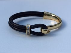 Gold and Crystal Half-cuff Leather Bracelet by TBeadsGlass on Etsy