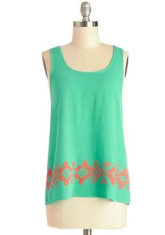 Eager to Energize Top. Your roomie has had a busy last few days - help her unwind with some weekend fun! #mint #modcloth
