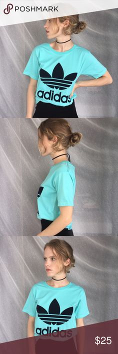 💙 Adidas velvet logo blue tee 💙 Adidas velvet logo light blue tee shirt - cotton tee with super cute velvet adidas design - no brand but urban nasty gal unit style ❤️ // no size but fits xs - small NWOT  Hi I'm Kait and I travel the world going to the best markets + malls hand picking out items just for you 💖😍 all orders will ship out in 2/3 days unless notified!   I don't accept offers because things are so expensive to ship to America, thanks for understanding! ✨Follow me on Instagram…
