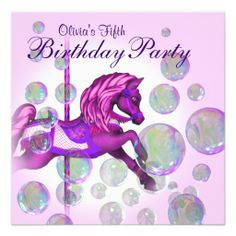 Shop Pink Bubbles Carousel Pony Girls Birthday Party Invitation created by InvitationCentral. Bubble Birthday Parties, 5th Birthday, Birthday Ideas, My Little Pony Invitations, Custom Invitations, Invites, Karaoke Party, Purple Birthday, Pink Bubbles