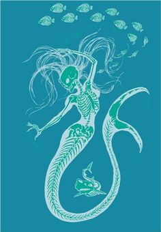 Womens Organic Mermaid Skeleton Tee