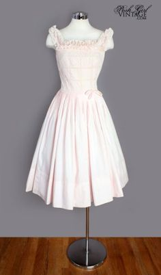 1950's Light Pink Cotton & Lace Dress - M