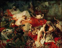 A Morte de Sardanapalus (1827), de Eugène Delacroix. A inspiração para a obra veio do trabalho do poeta inglês Lord Byron, que conta a história do cerco e da queda do rei da segunda dinastia assíria, cercado no seu palácio, no final do século IX. Romantismo Francês.