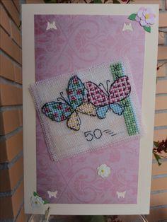 Tarjeta bordada mariposas 50 años